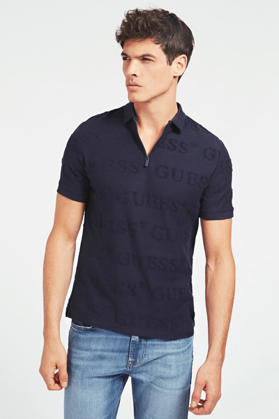 GUESS POLO LOGO ALL OVER BLAUW