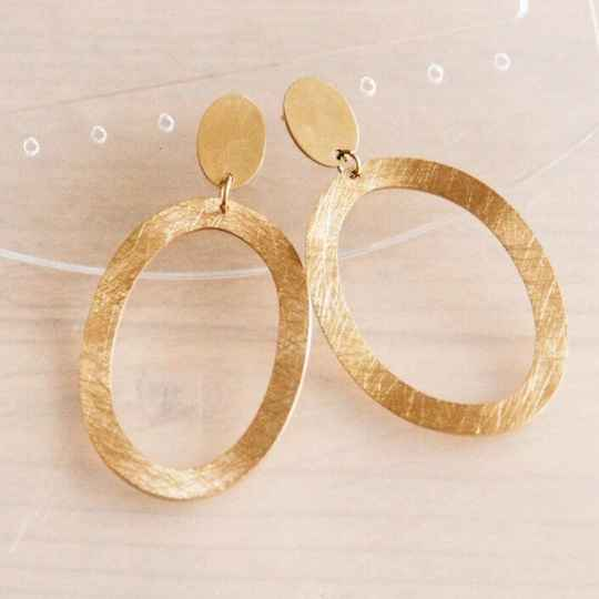 Statement oorbel grote ovale ring - goud