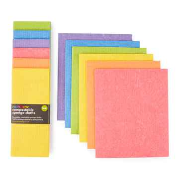 Compostable Sponge Cleaning Cloths - Rainbow - Set of 6