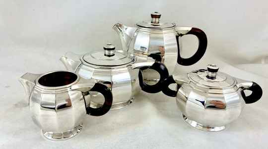 Art Deco coffee service,  Delheid Frères, Brussels circa 1925, sterling silver