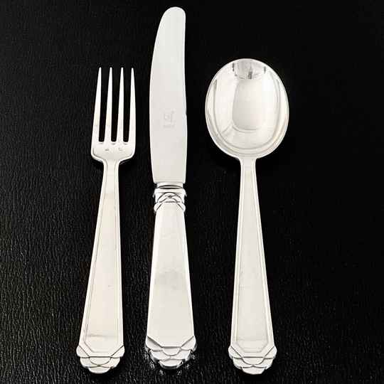 Art Deco Canteen, Delheid Frères, Brussels, Sterling Silver, Service of 12 Place Setting