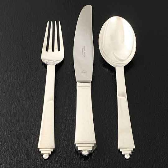 "Legendary Art Deco cutlery set ""Pyramid"" designed by H. Nielsen for Georg Jensen, 72 pieces"