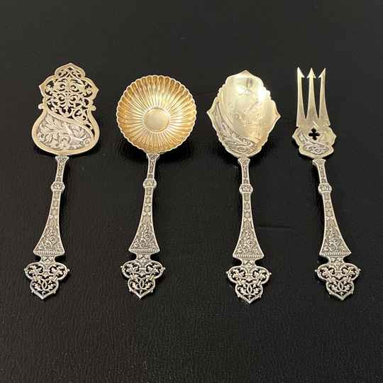 "Cutlery set for ""hors d'oeuvres"" or sweets in Neo-Gothic style, by Maison Puiforcat"