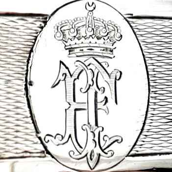 Pair of meat dishes, monogram King Farouk I of Egypt, Veyrat, Paris, 1870, sterling silver