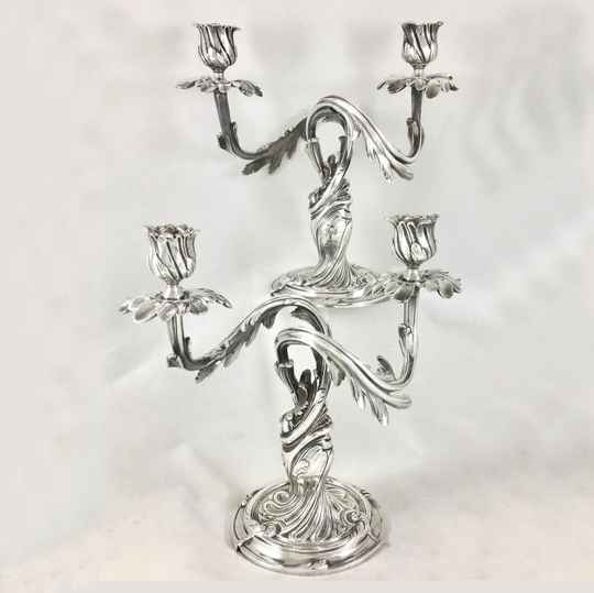 Pair Of Christofle Candelabra, Paris 1880-1900, Louis XV Style, Silver plated
