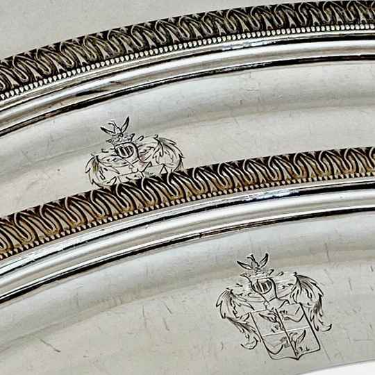 Two large empire meat dishes, Rothschild arms, G. A. Bompart, Paris 1817-19, sterling silver
