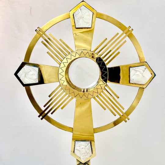 Art Deco monstrance in silver and ivory, Delheid Frères, Brussels