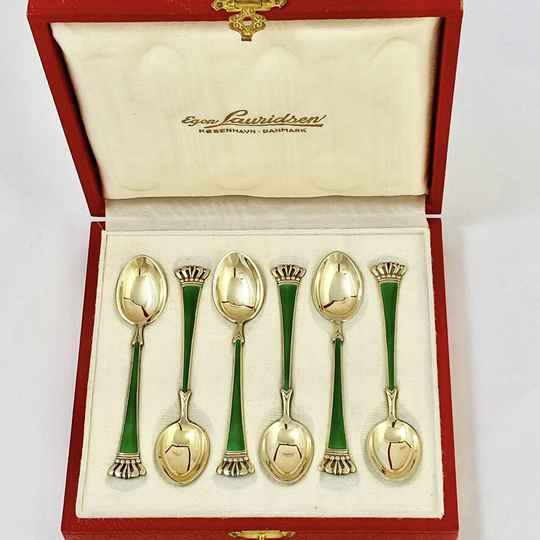 Set of six Danish silver and enamel spoons, circa 1950