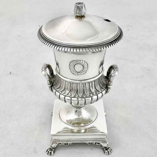 Mustard maker Empire, J-B-C Odiot, Paris 1809-1819, sterling silver and vermeil