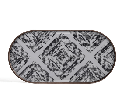 Plateaus - Ethnicraft - Slate Linear Squares oblong glass tray