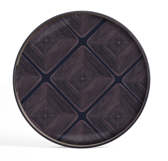 Plateaus - Ethnicraft - Midnight Linear Squares glass tray S