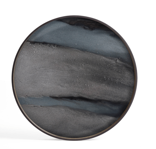 Plateaus - Ethnicraft - Graphite Organic oblong glass tray L