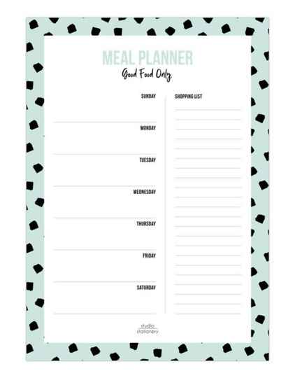 Meal Planner - Dots Mint - Studio Stationery