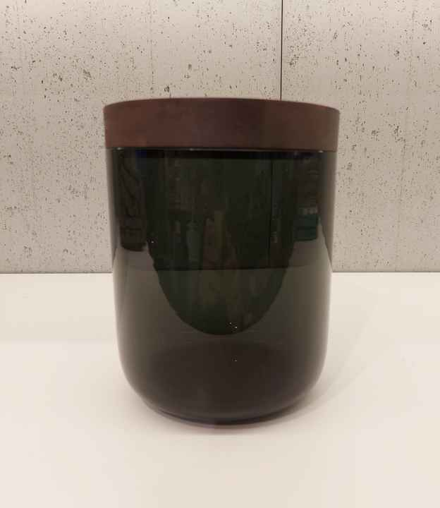 Wow VVD-pottery small high glass black ø15 / walnut lid 15173