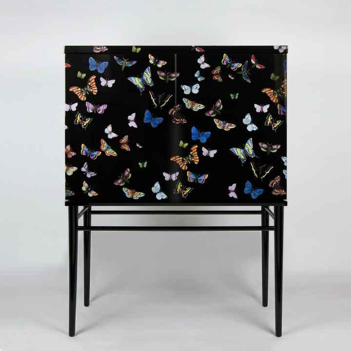 Fornasetti  raised small sideboard Farfalle colour black