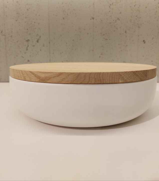 Wow VVD-pottery large white ø30 / oak lid 3072
