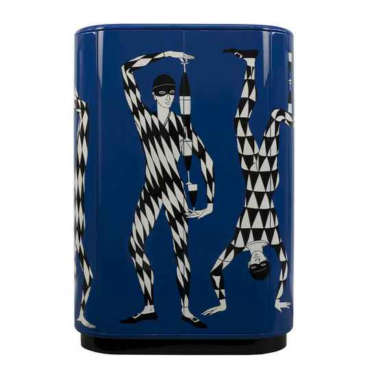 Fornasetti Curved cabinet Arlecchini black-white-blue - only on request (special order)