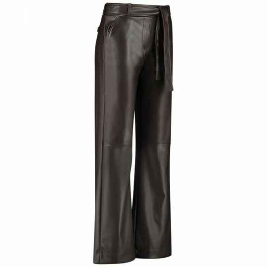 Studio Anneloes Marilyn faux leather trousers - coffee brown