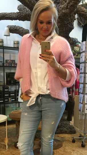 Cardigan knitted - Barbie roze