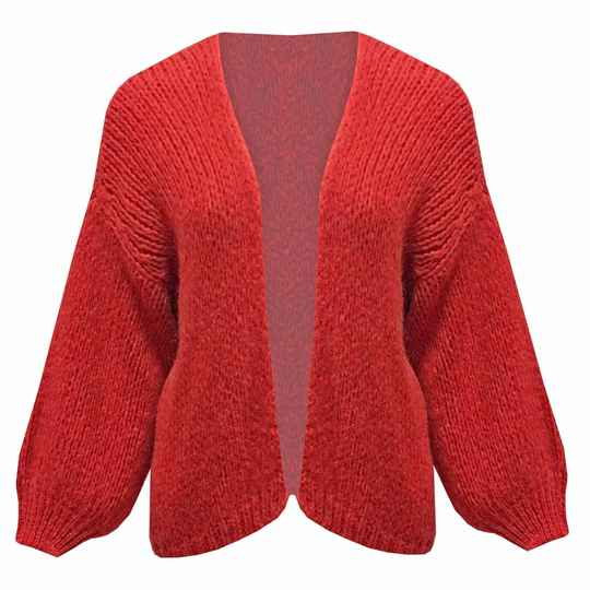 Cardigan knitted - red