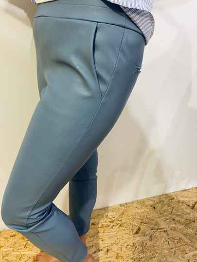 Pu leather chino - blue
