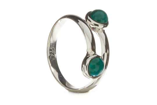 Ring  zilver steen malakite