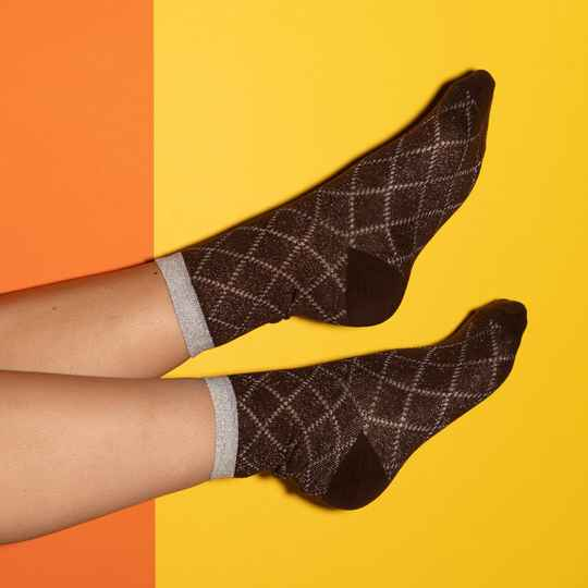 PINNED BY K - Socks Glitter Squares Coffee
