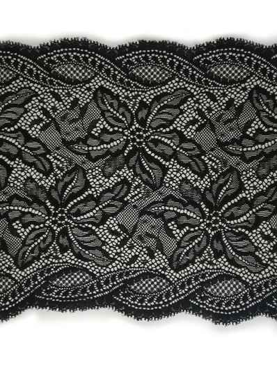 Knitted lace black large flower