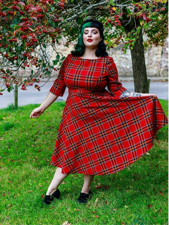New! Suzanne Berry Check Swing Dress