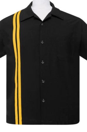V8 Button Racer Button Up in Black/Gold Steady