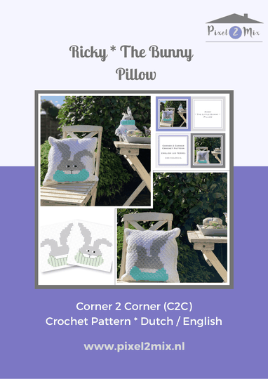 Ricky * The Bunny - Pillow - A5 Booklet / 2x A4 Charts - C2C Crochet Pattern