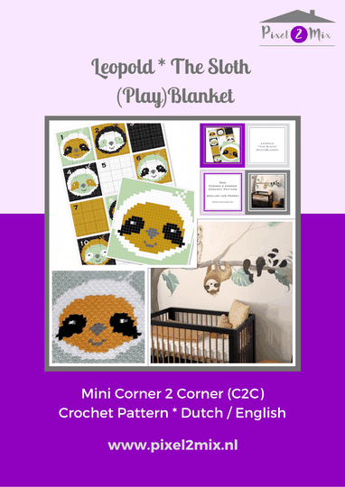 Leopold * The Sloth - (Play)Blanket - A5 Booklet / 12x A4 Charts - Mini C2C Crochet Pattern