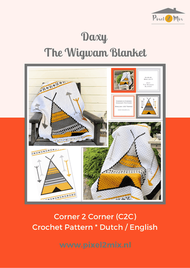 Dixy * The Wigwam Blanket - A5 Booklet / 1x A3 Chart - C2C Crochet Pattern
