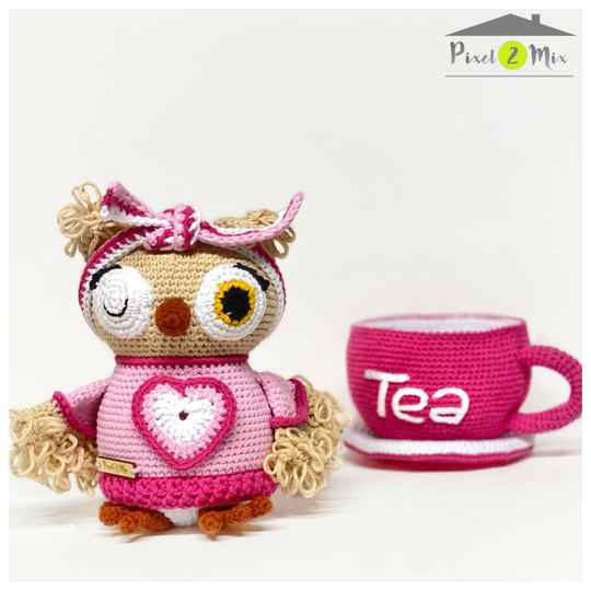 Olivia in Tea Cup  * The Little Owl * Crocheted Stuffed Toy
