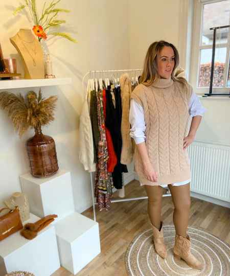 Leder look legging beige of zwart
