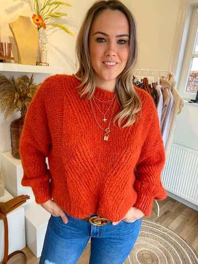 Trui rood wol/mohair