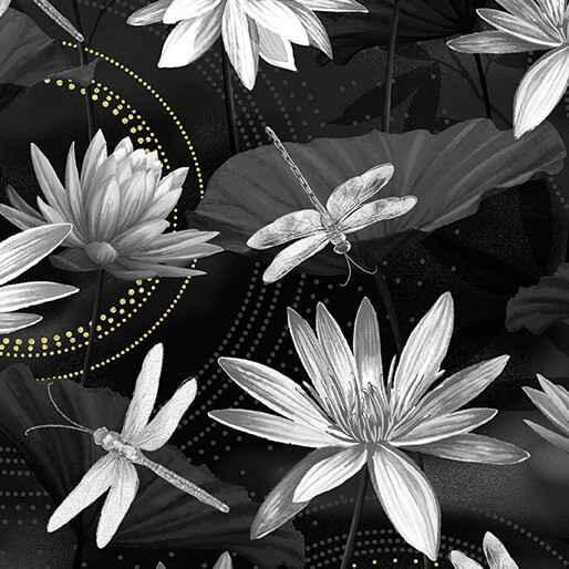 Dragonfly Dance - Waterlily Pool - Black Gray