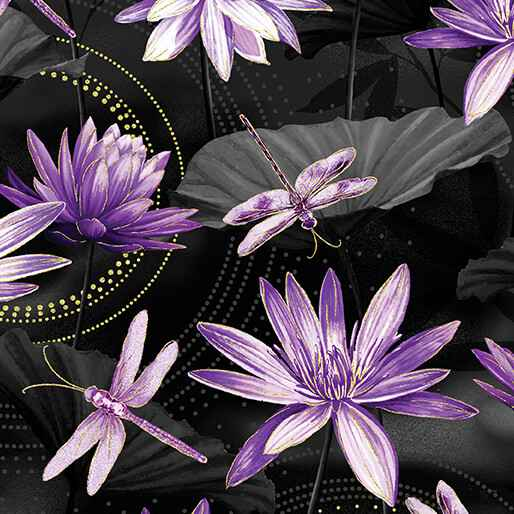Dragonfly Dance - Waterlily Pool - Black Purple