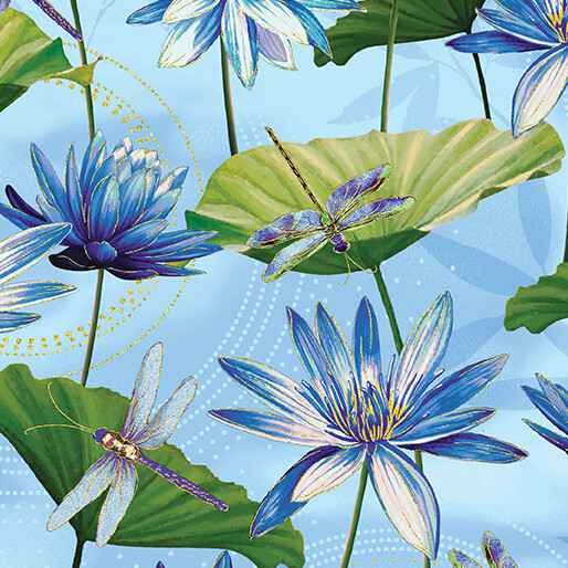 Dragonfly Dance - Waterlily Pool - Light Blue