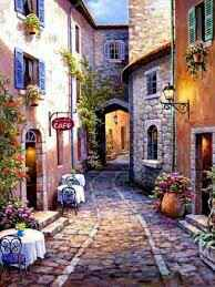 """Diamond painting """"Cafe in the street"""""""