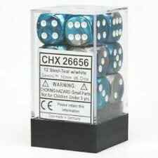 Chessex 12 Gemini D6 Dices Set (16mm) Steel-Teal w/White