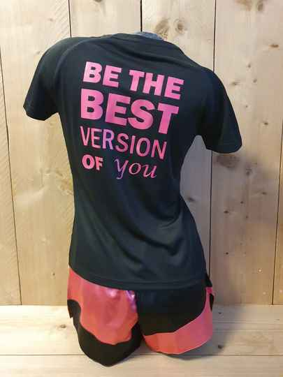 """Opdruk Roze """"Be the best version of you"""""""