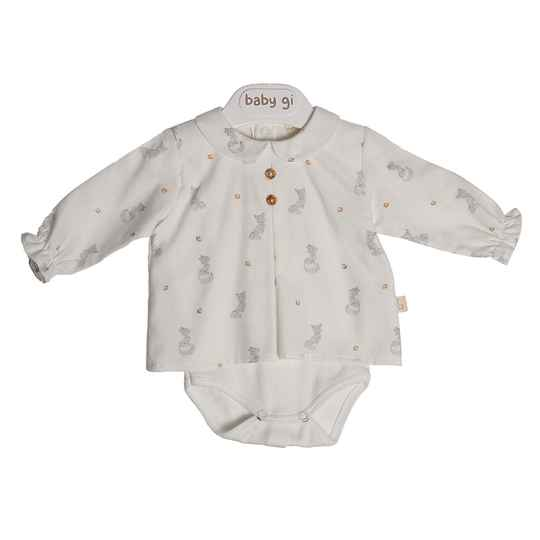 Pearl bodyvest blouse with collar - fox 6 maand