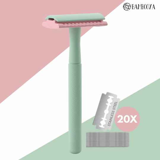 Safety razor Bambooya - The color collection - Minty Pink - 20 scheermesjes