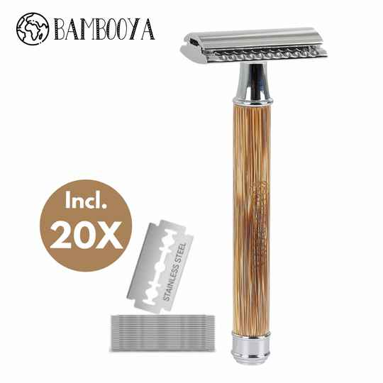 Bamboo safety razor - chrome