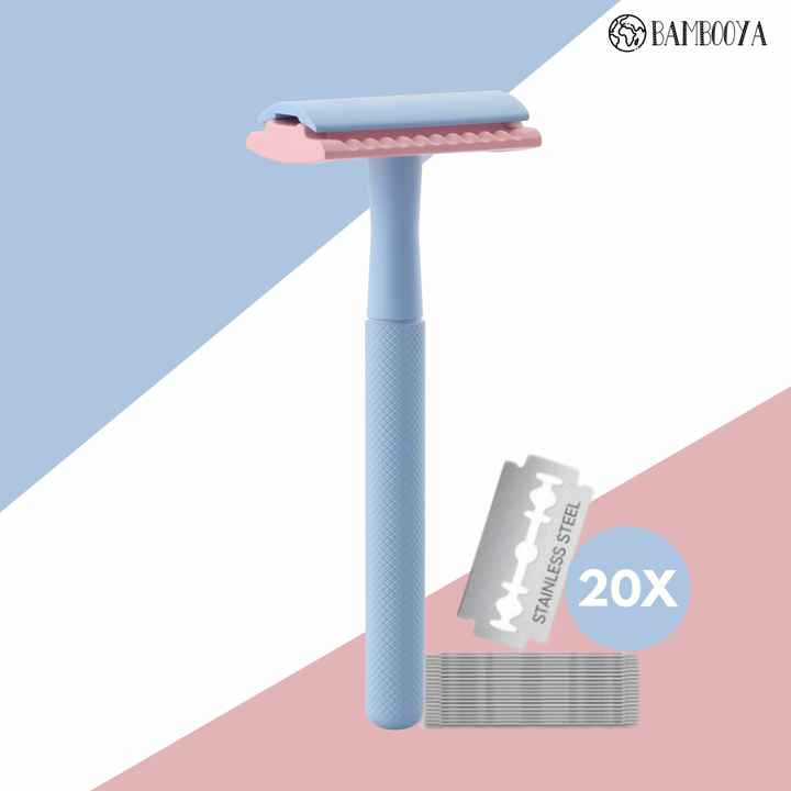 Safety razor Bambooya - The color collection - Frosty Pink - 20 scheermesjes