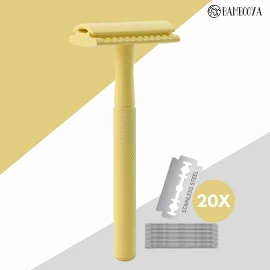 Safety razor Bambooya - The color collection - Yellow - 20 scheermesjes