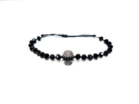 Bracelet Shine of black Skull version - χειροποίητο