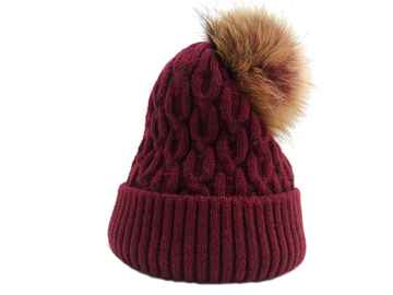 Natural fur pom BEANIE