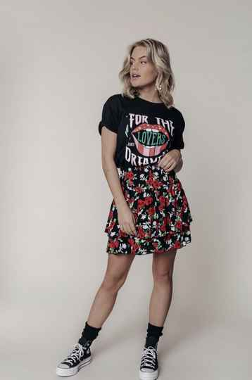 COLOURFUL REBEL DAPHNE ROSES TWO LAYER SKIRT BLACK